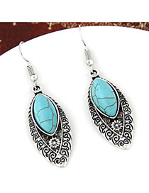Elegant Green Hollow Out Oval&stone Decorated Simple Earring