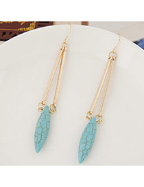 Elegant Green Oval Stone Pendant Decorated Simple Earring