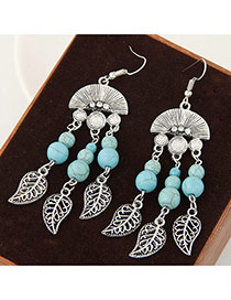 Vintage Green Hollow Out Leaf Pendant Decorated Fan Shape Earring