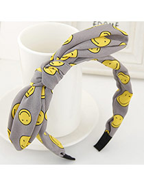 Lovely Gray Smiling Face Pattern Decorated Bunny Ears Hair Hoop &hair Band
