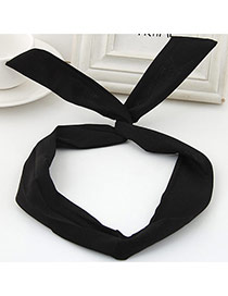 Sweet Balck Pure Color Decorated Bunny Ears Simple Hair Hoop&hair Band