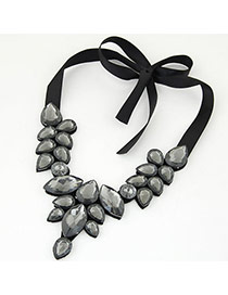 Trendy Gray Water Drop Shape Gemstone Decorated Short Chain Necklace