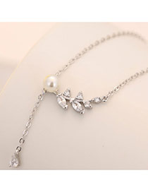 Sweet Silver Color Oval Diamond&pearl Decorated Long Tassel Necklace