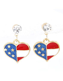 Sweet Multi-color Star Decorated Heart Shape Simple Earrings