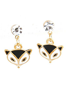 Sweet Black+white Fox Pendant Decorated Simple Earrings
