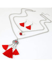 Bohemia Red Short Tassel Decorated Double Layer Necklace