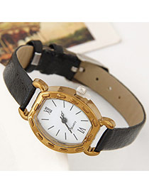 Fashion Black Pure Color Watch Strap Decorated Simple Watch