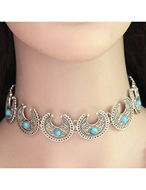 Vintage Blue Round Shape Gemstone Decorated Crescent Moon Desingn Choker '