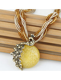 Exaggerate Yellow Peacock Decorated Round Pendant Simple Necklace