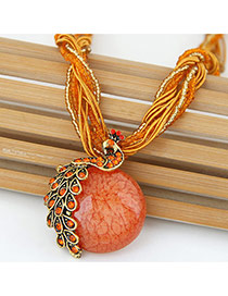 Exaggerate Orange Peacock Decorated Round Pendant Simple Necklace