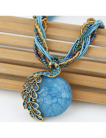 Exaggerate Blue Peacock Decorated Round Pendant Simple Necklace