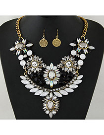 Fashion Black Flower Shape Decorated Hollow Out Jewelry Sets