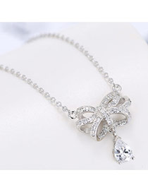 Sweet Silver Color Bowknot& Oval Shape Diamond Pendant Decorated Simple Necklace
