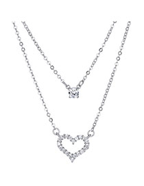 Delicate Silver Color Hollow Out Heart Shape Decorated Long Chain Necklace