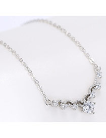 Elegant Silver Color Round Shape Diamond Decorated Long Chain Necklace