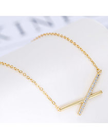 Fashion Gold Color Letter Xpendant Decorated Long Chain Necklace