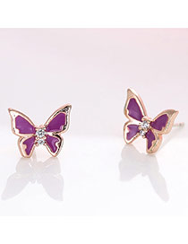 Fashion Purple+gold Color Diamond Decorated Butterfly Shape Design Simple Earrings