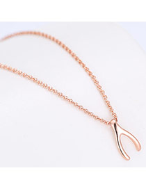 Fashion Rose Gold Letteryshape Pendant Decorated Long Chain Necklace