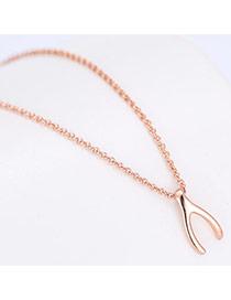 Fashion Rose Gold Letteryshape Pendant Decorated Long Chain Necklace