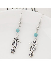 Fashion Silver Color+blue Bead& Hippocampus Shape Pendant Decorated Simple Earring