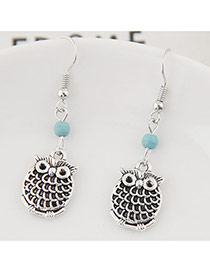 Cute Silver Color+blue Bead& Owl Shape Pendant Decorated Simple Earring