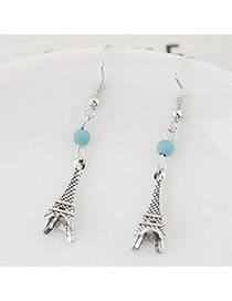 Trendy Silver Color+blue Bead& Eiffel Tower Shape Pendant Decorated Simple Earring