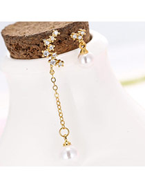 Trendy White+gold Pearl Decorated Simple Design Asymmetrical Earrings