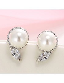 Delicate White+silver Pearl& Diamond Pendant Decorated Simple Design Earrings