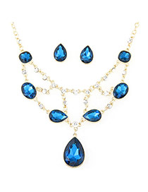 Luxury Sapphire-blue Waterdrop Shape Pendant Decorated Simple Design Jewelry Sets
