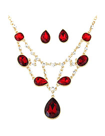 Exquisite Red Waterdrop Shape Pendant Decorated Simple Design Jewelry Sets