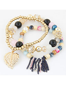 Fashion Multi-color Tassel& Leaf Shape Decorated Multilayer Simple Design Bracelet