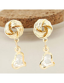 Luxury Gold Color Diamond& Hollow Out Heart Shape Pendant Decorated Simple Earrings