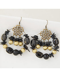 Trendy Multi-color Bead Decorated Round Shape Simple Design Hollow Out Earrings