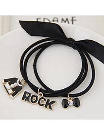 Trendy Black Multielement Pendant Decorated Multilayer Design Hairband