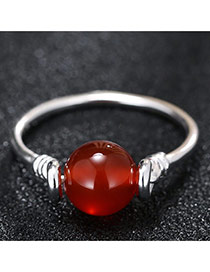 Fashion Silver+red Bead Decorated Simple Design Opening Ring