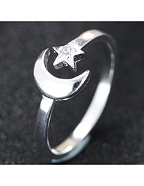 Trendy Silver Star& Moon Shape Decorated Simple Design Opening Ring