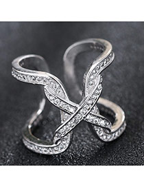 Trendy Silver Diamond Decorated Bowtie Shape Simple Opening Ring