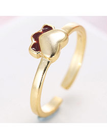 Trendy Gold+claret-red Heart& Petal Shape Decorated Simple Design Pure Color Ring