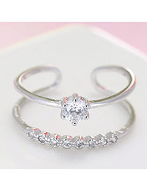 Fashion Silver Color Diamond Decoraed Simple Design Pure Color Hollow Out Ring