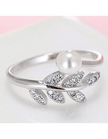 Trendy Silver Color Diamond& Bead Decorated Leaf Shape Design Opening Ring