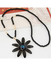 Trendy Black Flower Shape Pendant Decorated Simple Design Long Chain Necklace