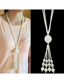 Trendy White Tassel& Round Shape Pendant Decorated Long Chain Simple Necklace