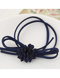 Trendy Dark Blue Chrysanthemum Flower Decorated Multilayer Design Pure Color Hairband