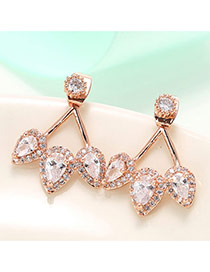 Trendy Rose Gold Color Diamond Decorated Waterdrop Shape Design Hollow Out Earrings