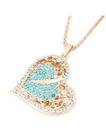 Elegant Blue+gold Color Diamond Decorated Heart Shape Pendant Design Necklace