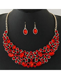 Fashion Red+gold Color Diamond Decorated Geometric Shape Pendant Design Jewelry Sets Reviews