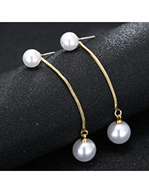 Sweet Gold Color Double Pearl Decorated Chain Design Earring