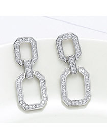 Sweet Silver Color Daimond Decorated Geometric Shape Earring