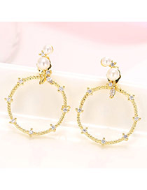 Sweet Gold Color Pearl Decorated Big Round Shape Earring