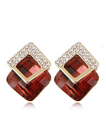 Fashion Red+golden Color Diamond&square Shape Gemstone Decorated Three-dimensional Earrings
